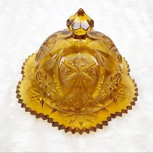 Lenox Imperial domed butter dish carnival glass